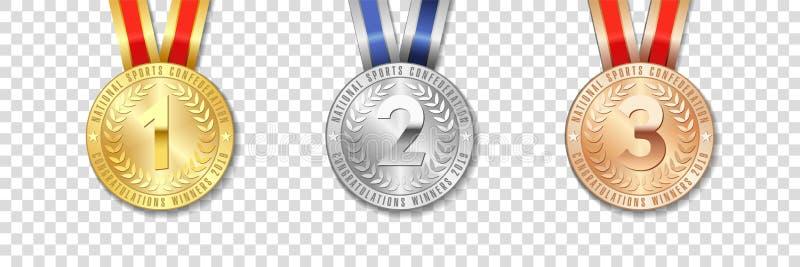 Icona d'argento e bronzea realistica dell'oro di vettore 3d, del premio della medaglia messa con i nastri di colore royalty illustrazione gratis