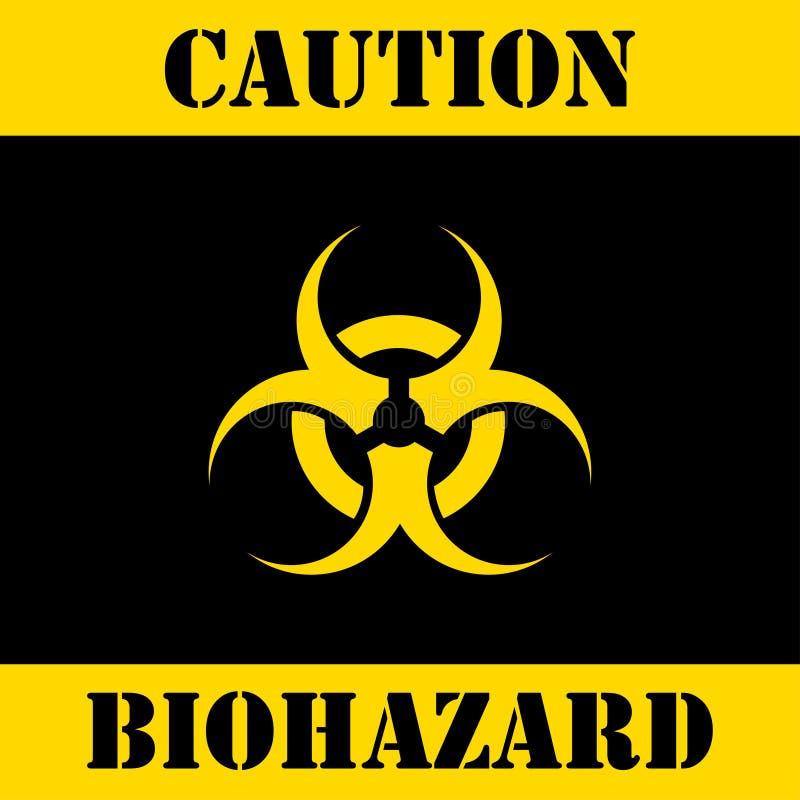 Icona d'avvertimento di rischio biologico Priorità bassa nera Illustrazione di vettore illustrazione di stock