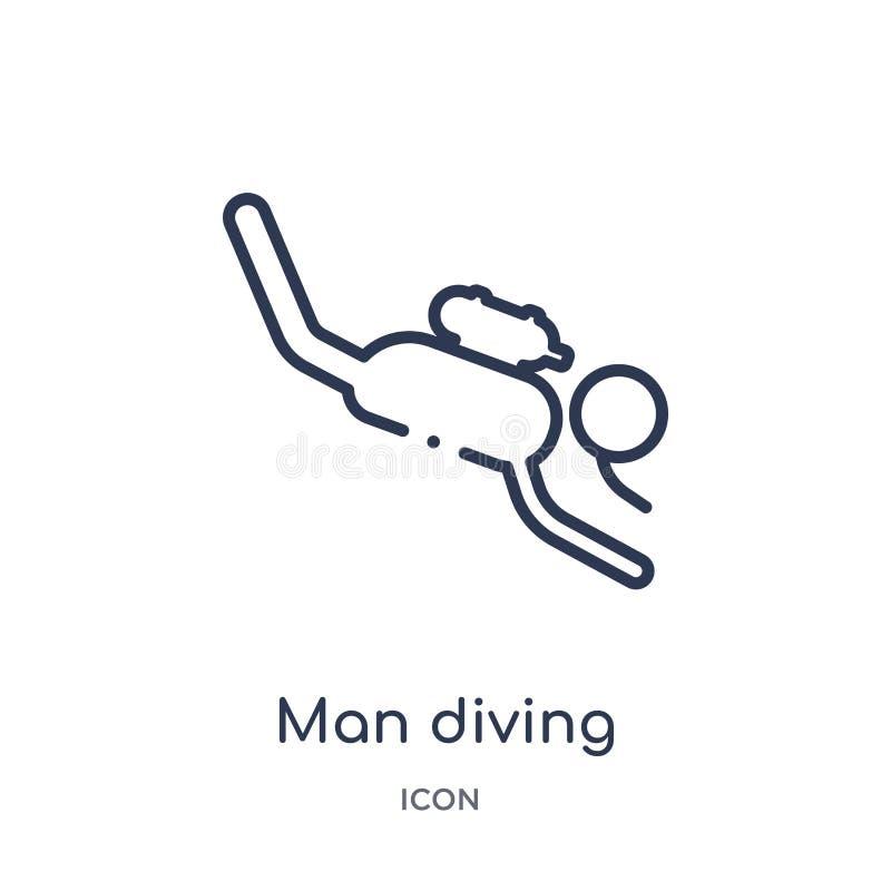Icona d'immersione dell'uomo lineare dalla raccolta del profilo di comportamento Linea sottile vettore d'immersione dell'uomo iso illustrazione di stock