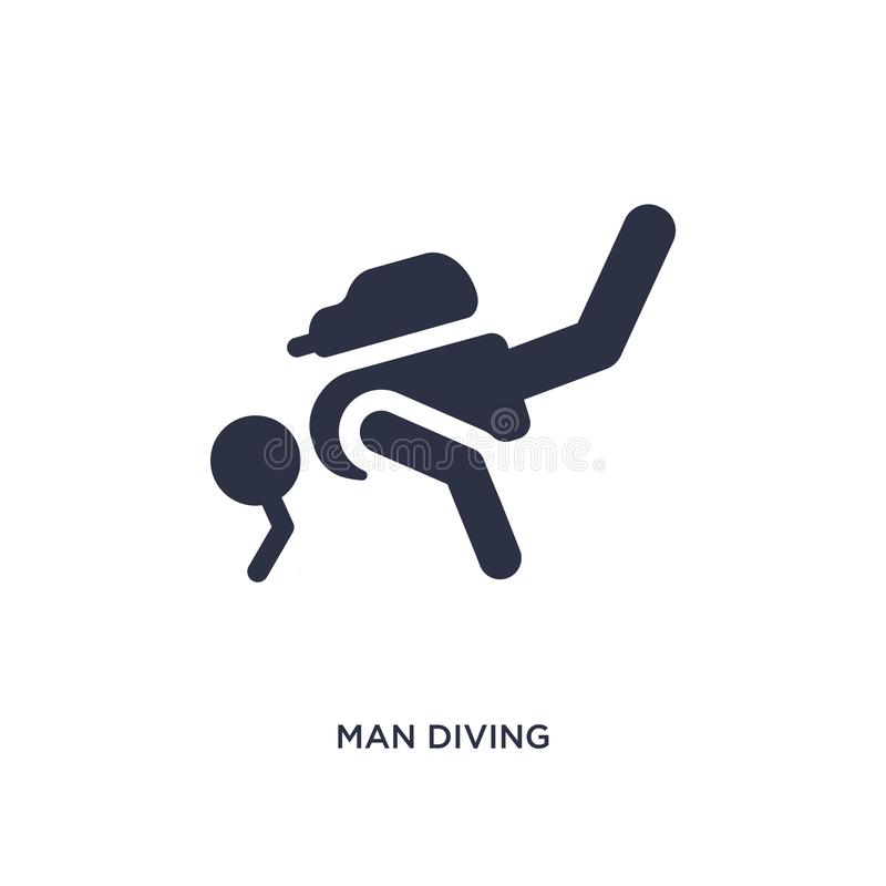 icona d'immersione dell'uomo su fondo bianco Illustrazione semplice dell'elemento dal concetto di comportamento royalty illustrazione gratis