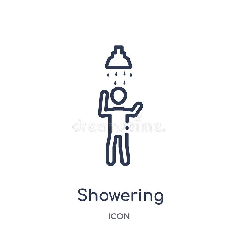 Icona d'inondazione lineare dalla raccolta del profilo degli esseri umani Linea sottile che inonda icona isolata su fondo bianco  illustrazione vettoriale