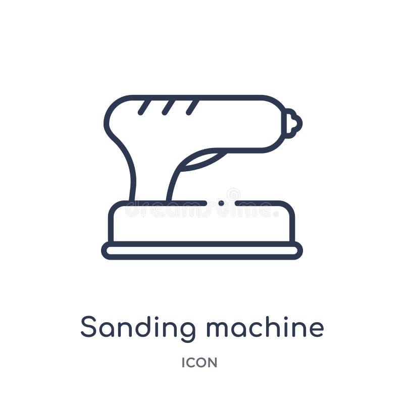 Icona d'insabbiamento lineare della macchina dalla raccolta del profilo degli strumenti e della costruzione Linea sottile icona d illustrazione vettoriale