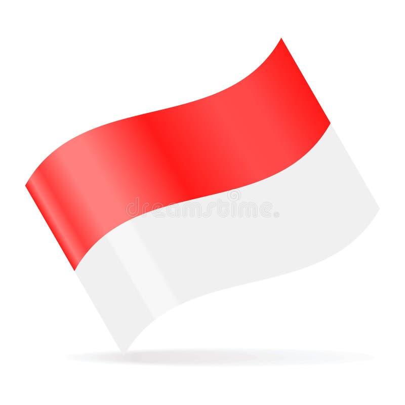 Icona d'ondeggiamento di vettore della bandiera dell'Indonesia illustrazione vettoriale
