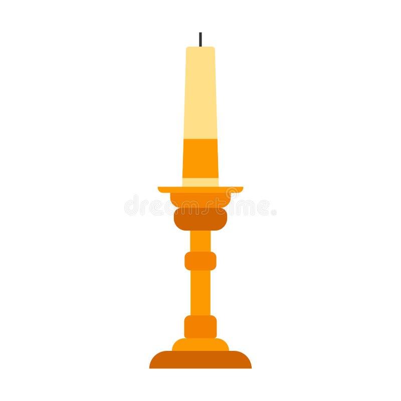 Icona d'ottone piana religiosa di vettore della candela di simbolo tradizionale della decorazione del supporto del candeliere Luc illustrazione vettoriale