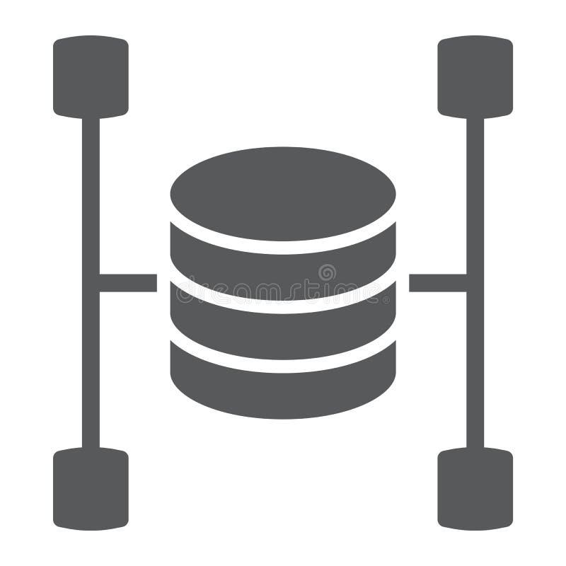 Icona, dati e analisi dei dati di glifo del data warehouse royalty illustrazione gratis