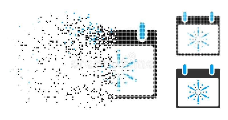 Icona decomposta di giorno di Dot Halftone Fireworks Boom Calendar illustrazione di stock