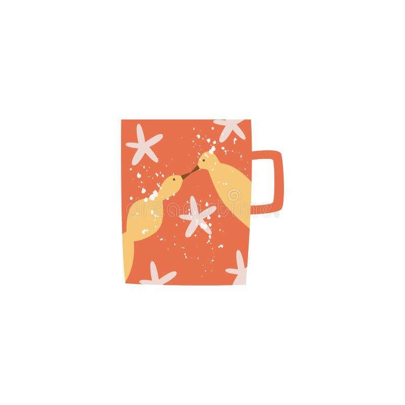 Icona decorata tazza ceramica piana delle terrecotte di vettore illustrazione vettoriale