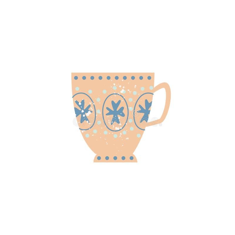 Icona decorata tazza ceramica piana delle terrecotte di vettore royalty illustrazione gratis