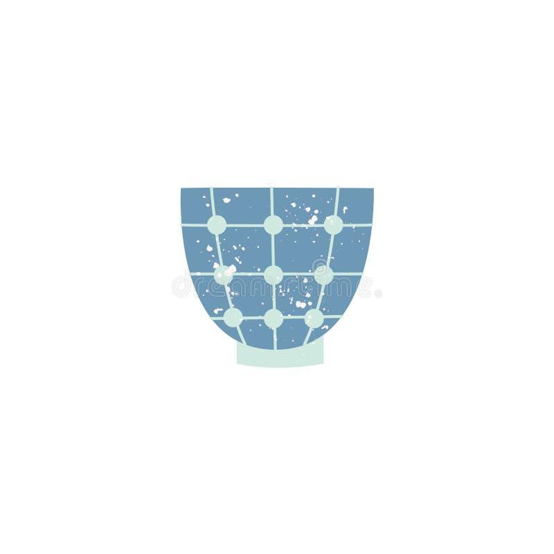 Icona decorata tazza ceramica piana delle terrecotte di vettore illustrazione di stock