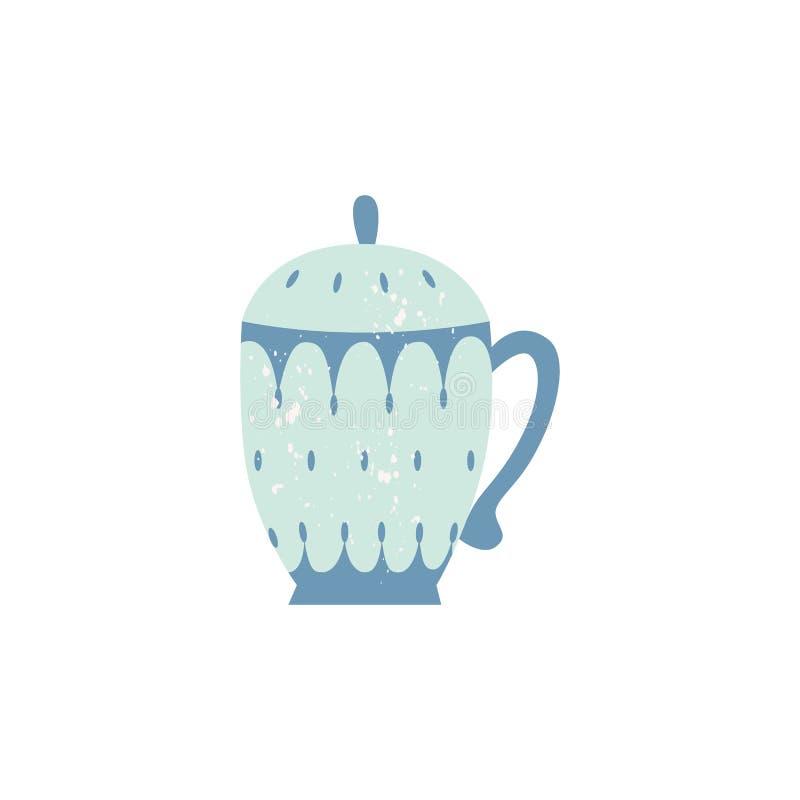 Icona decorata teiera ceramica piana delle terrecotte di vettore illustrazione vettoriale