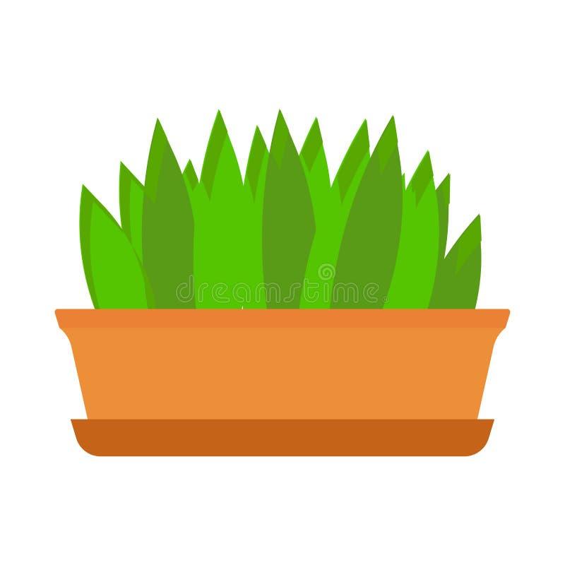 Icona decorativa di giardinaggio floreale di vettore dell'elemento del vaso da fiori Vaso interno dell'ufficio dell'illustrazione illustrazione di stock
