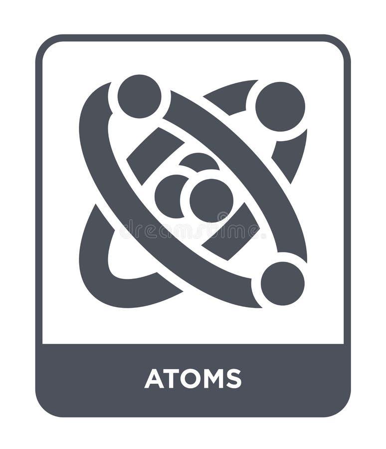 icona degli atomi nello stile d'avanguardia di progettazione icona degli atomi isolata su fondo bianco simbolo piano semplice e m illustrazione vettoriale
