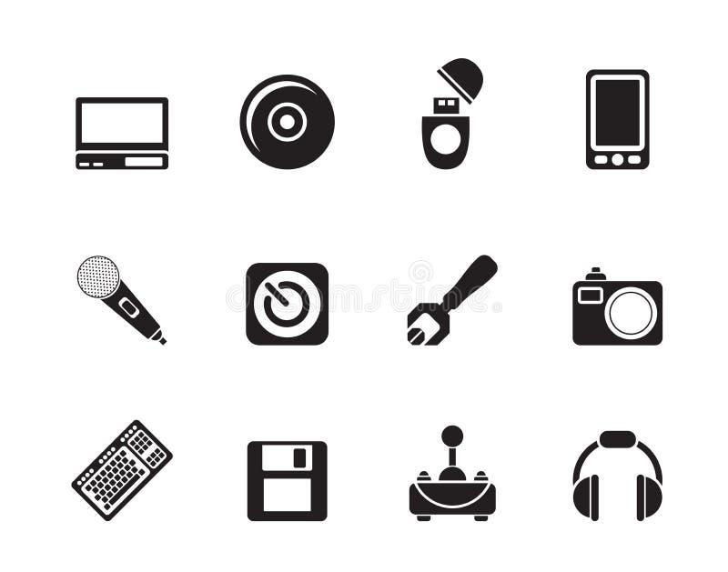 Icona degli elementi del computer e del telefono cellulare della siluetta royalty illustrazione gratis