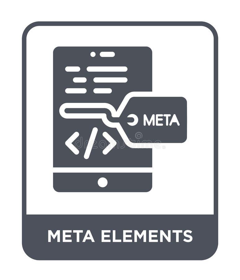 icona degli elementi del meta nello stile d'avanguardia di progettazione icona degli elementi del meta isolata su fondo bianco ic royalty illustrazione gratis