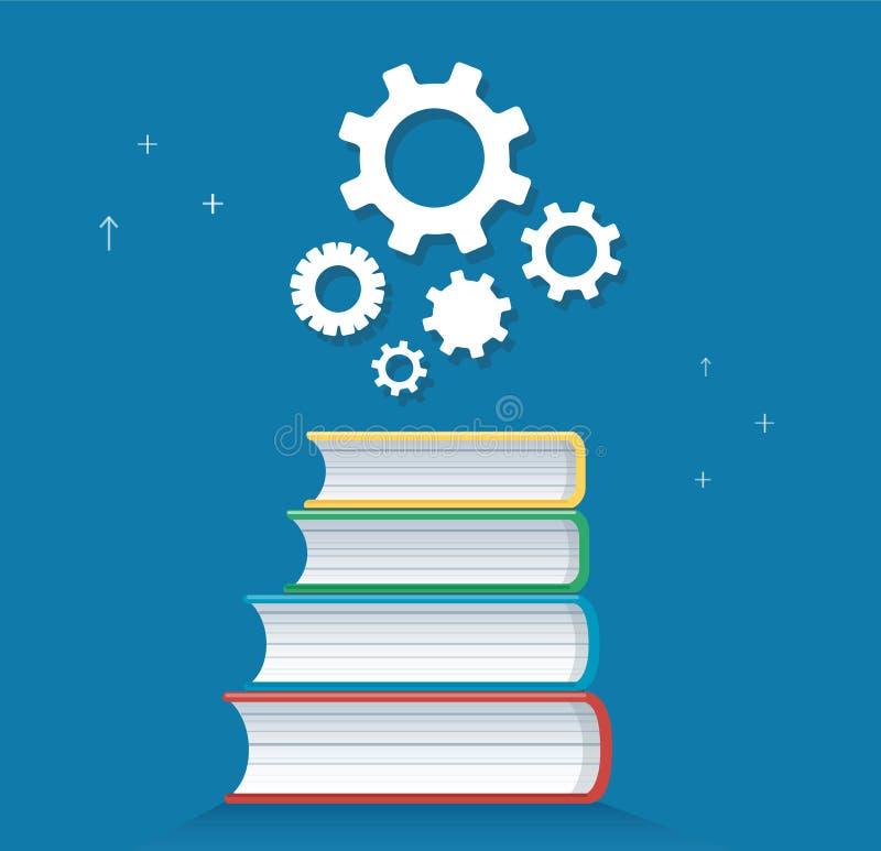 Icona degli ingranaggi sull'illustrazione di vettore di progettazione dell'icona dei libri, concetti di istruzione illustrazione di stock