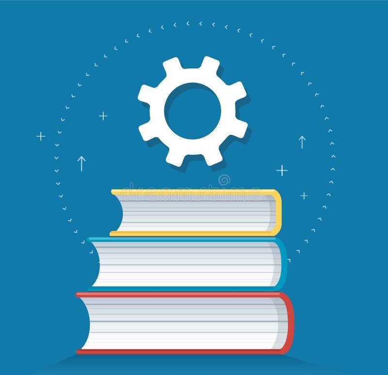 Icona degli ingranaggi sull'illustrazione di vettore di progettazione dell'icona dei libri, concetti di istruzione royalty illustrazione gratis