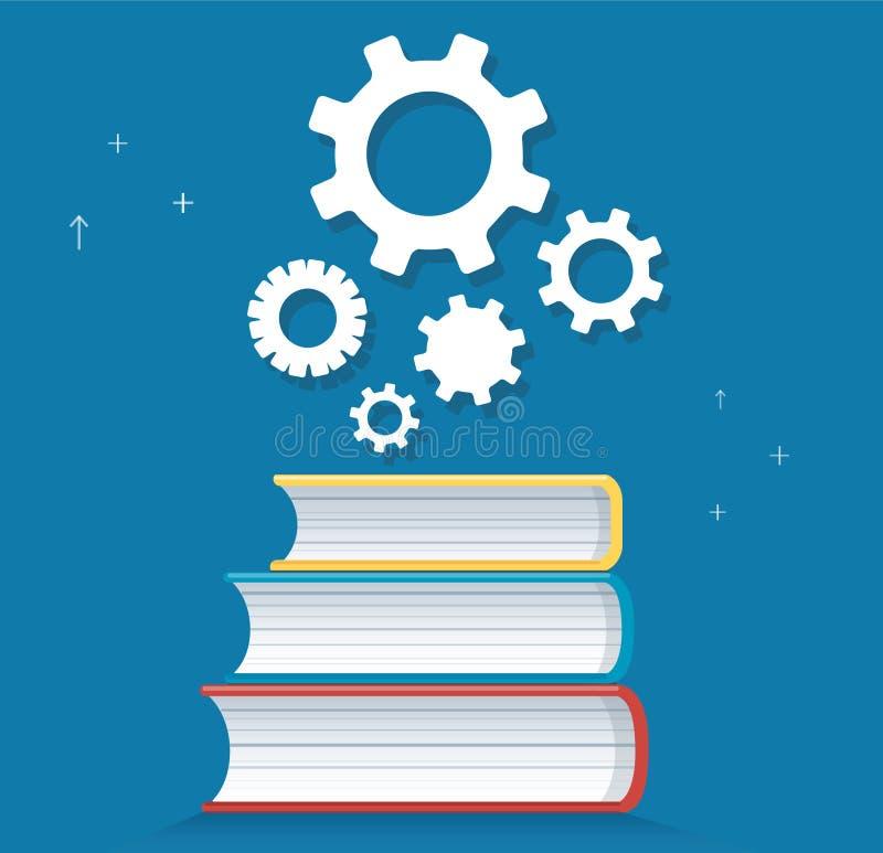 Icona degli ingranaggi sull'illustrazione di vettore di progettazione dell'icona dei libri, concetti di istruzione illustrazione vettoriale