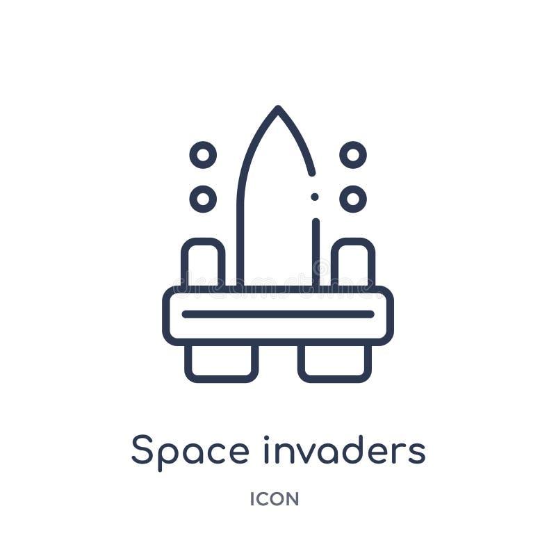 Icona degli invasori dello spazio lineare da spettacolo e dalla raccolta del profilo della galleria Linea sottile vettore degli i illustrazione vettoriale
