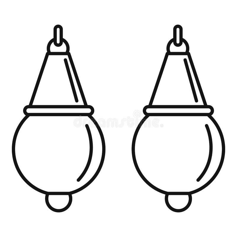 Icona degli orecchini della perla, stile del profilo illustrazione vettoriale