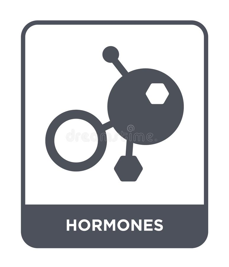 icona degli ormoni nello stile d'avanguardia di progettazione icona degli ormoni isolata su fondo bianco piano semplice e moderno illustrazione di stock