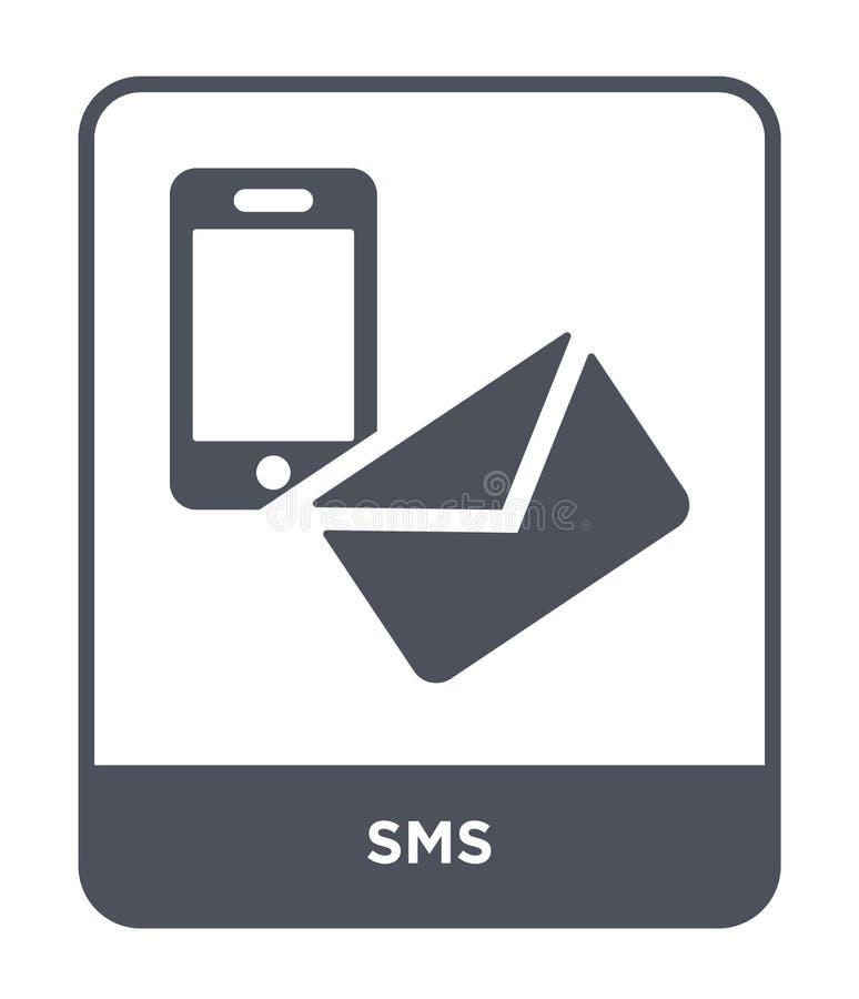 icona degli sms nello stile d'avanguardia di progettazione icona degli sms isolata su fondo bianco simbolo piano semplice e moder royalty illustrazione gratis