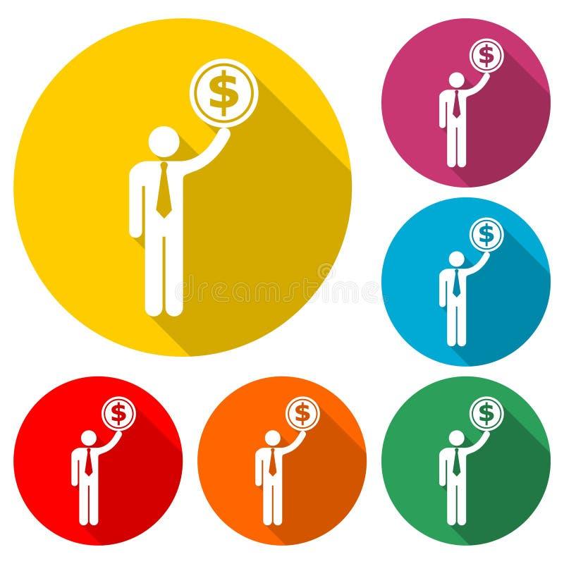 Icona degli stipendi degli impiegati o logo, siluetta dell'uomo d'affari con il simbolo di dollaro, icona dei guadagni dell'utent illustrazione di stock