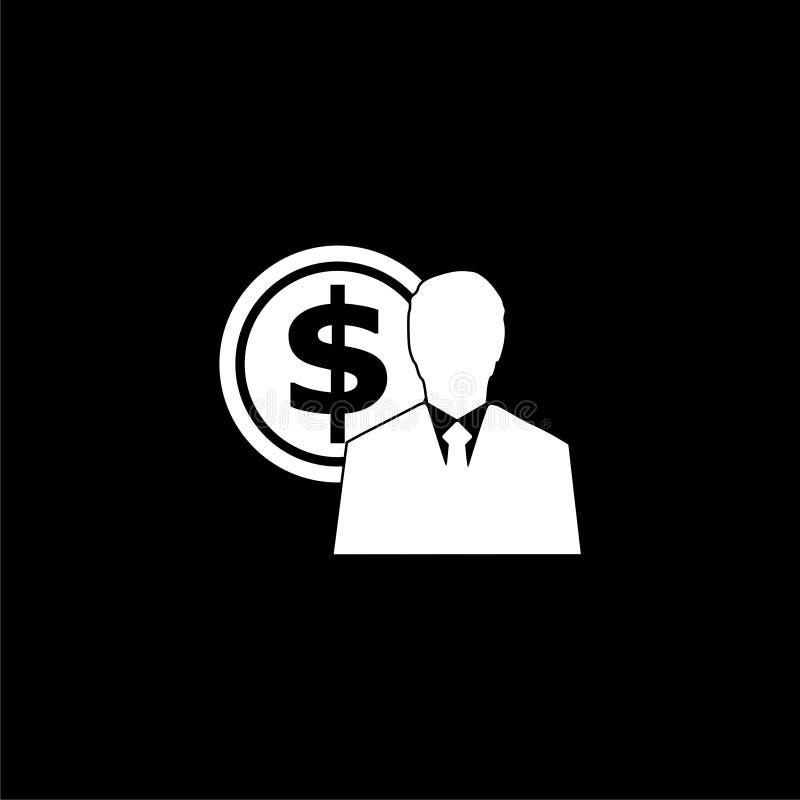 Icona degli stipendi degli impiegati o logo, siluetta dell'uomo d'affari con il simbolo di dollaro, icona dei guadagni dell'utent royalty illustrazione gratis