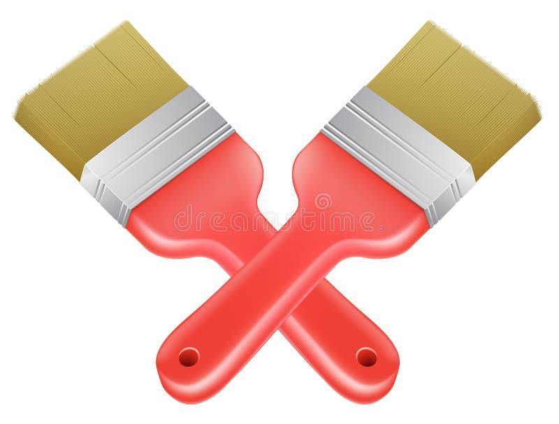 Icona degli strumenti attraversata pennelli royalty illustrazione gratis