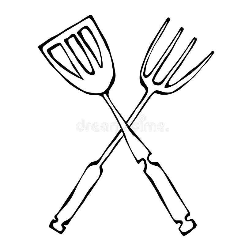 Icona degli strumenti della griglia o del BBQ Forcella attraversata del barbecue con la spatola Isolato su una priorità bassa bia illustrazione di stock