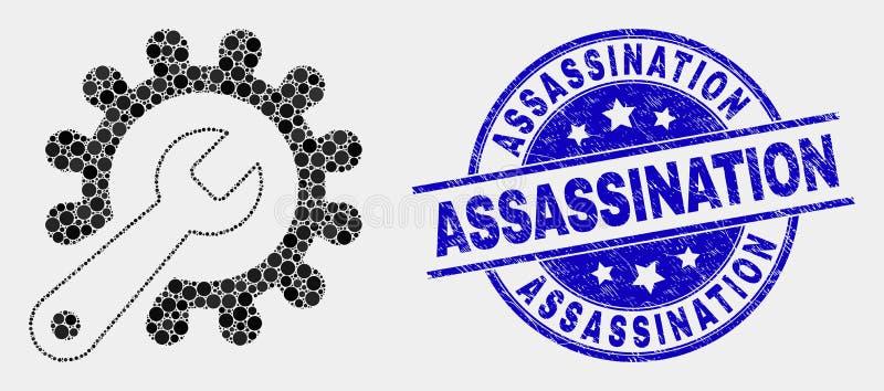 Icona degli strumenti di riparazione di Pixelated di vettore e bollo graffiato di assassinio royalty illustrazione gratis