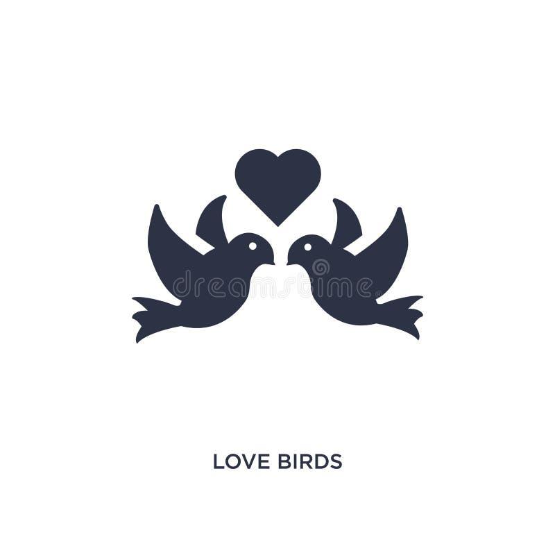 Icona degli uccelli di amore su fondo bianco Illustrazione semplice dell'elemento dal concetto della festa di compleanno e di noz illustrazione di stock