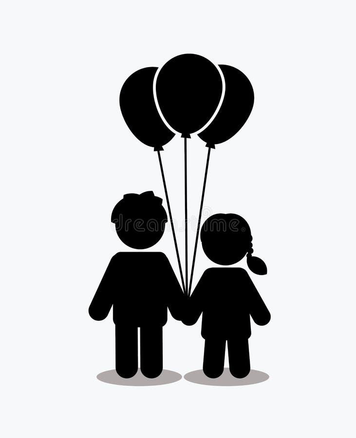 Icona dei bambini, icona di amore, icona delle coppie con i palloni royalty illustrazione gratis
