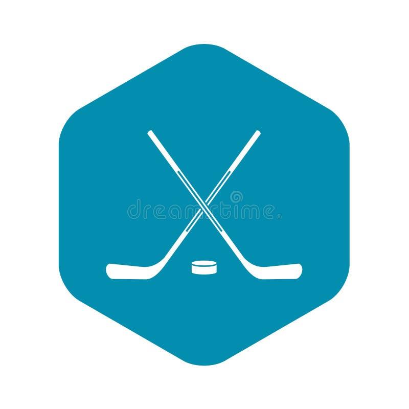 Icona dei bastoni di hockey su ghiaccio, stile semplice illustrazione vettoriale