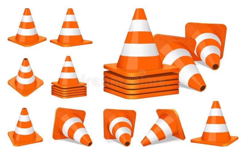 Icona dei coni di traffico illustrazione vettoriale