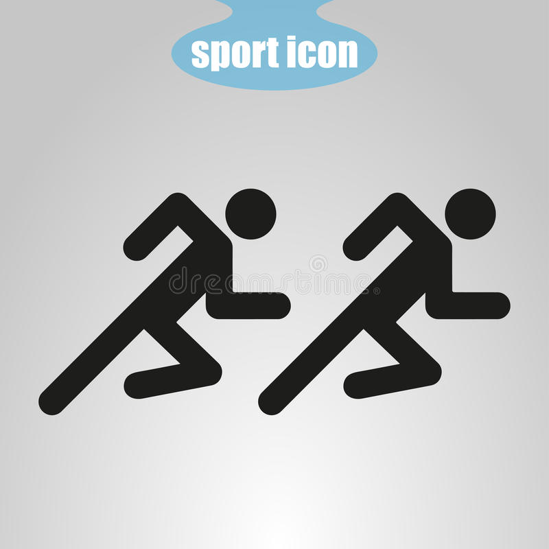 Icona dei due atleti che corrono su un fondo grigio Illustrazione di vettore royalty illustrazione gratis