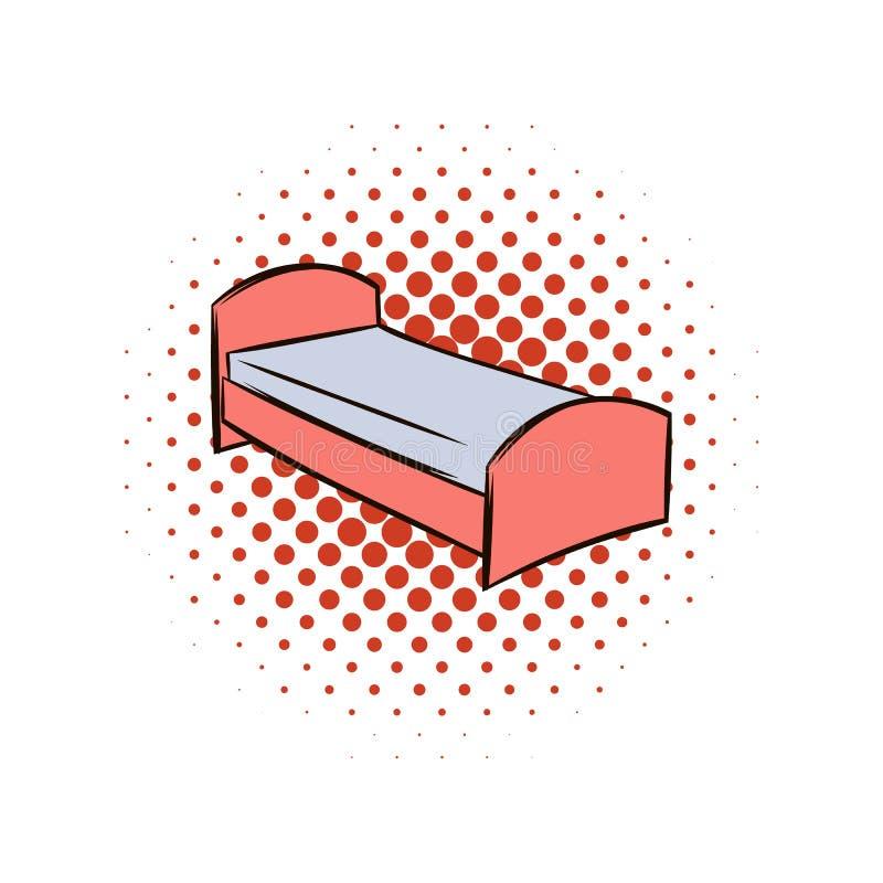 Icona dei fumetti del letto singolo illustrazione di stock