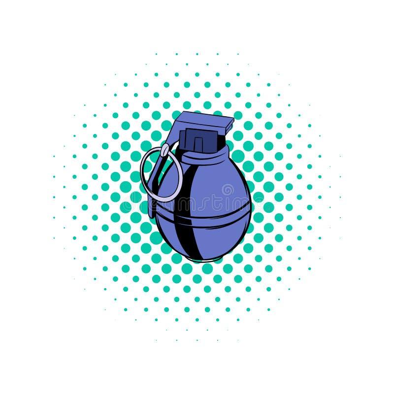 Icona dei fumetti della granata illustrazione di stock