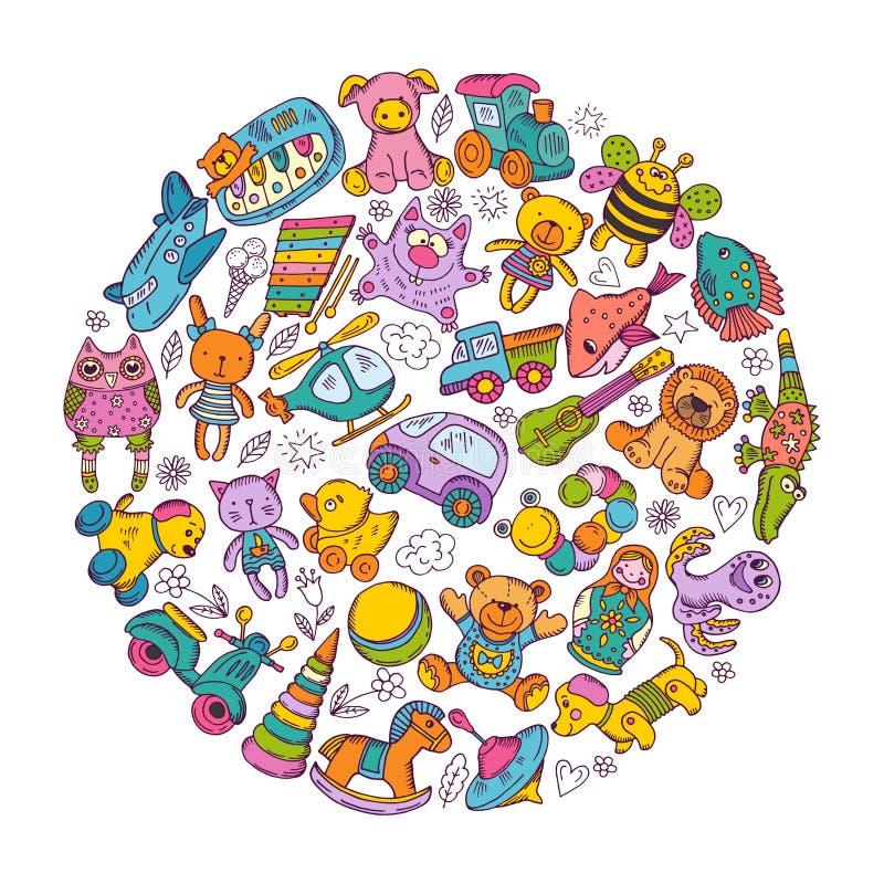 Icona dei giocattoli dei bambini messa nella forma del cerchio Illustrazioni di vettore di scarabocchio illustrazione vettoriale