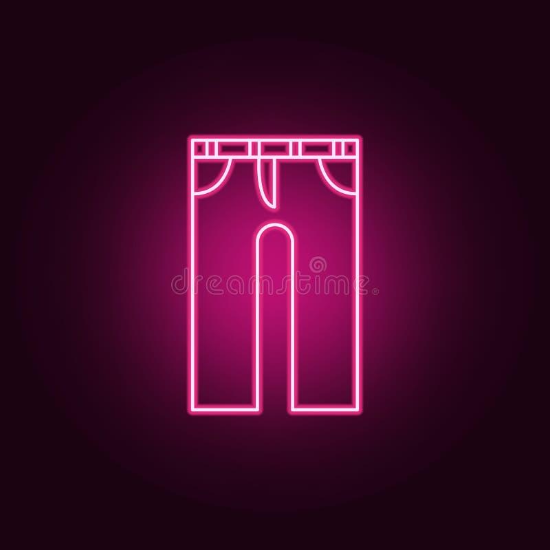Icona dei jeans Elementi dei vestiti nelle icone al neon di stile E illustrazione vettoriale