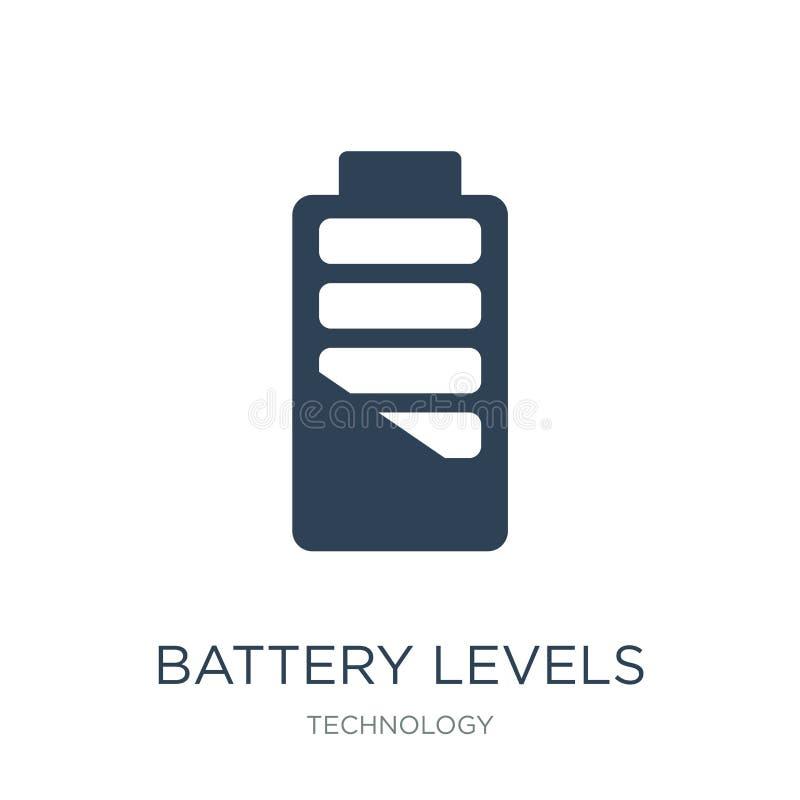 icona dei livelli della batteria nello stile d'avanguardia di progettazione icona dei livelli della batteria isolata su fondo bia illustrazione di stock