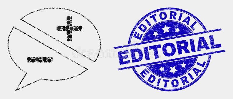 Icona dei messaggi di discussione di Pixelated di vettore ed affliggere la guarnizione editoriale del bollo royalty illustrazione gratis