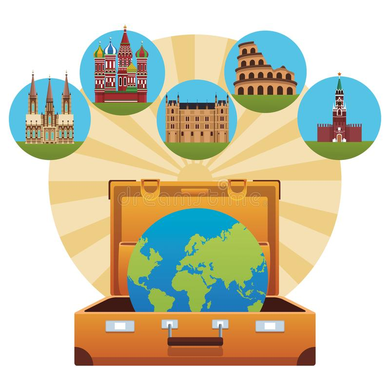 Icona dei monumenti del mondo illustrazione vettoriale