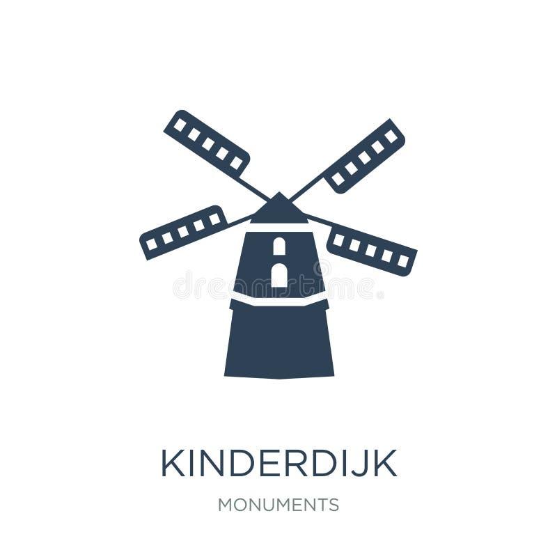 icona dei mulini a vento del kinderdijk nello stile d'avanguardia di progettazione icona dei mulini a vento del kinderdijk isolat illustrazione di stock