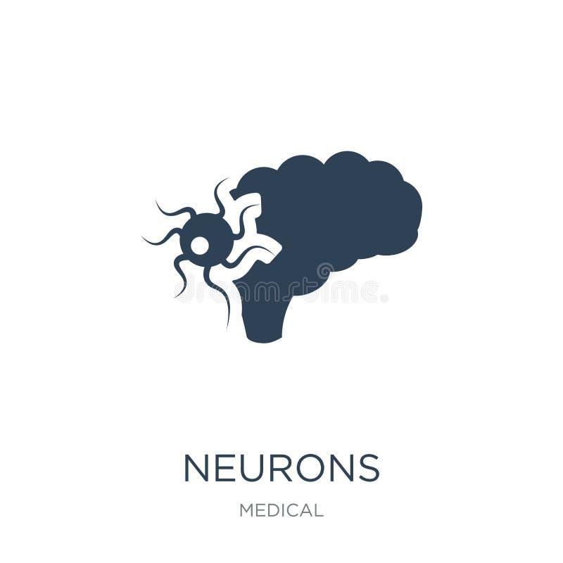 icona dei neuroni nello stile d'avanguardia di progettazione icona dei neuroni isolata su fondo bianco simbolo piano semplice e m royalty illustrazione gratis