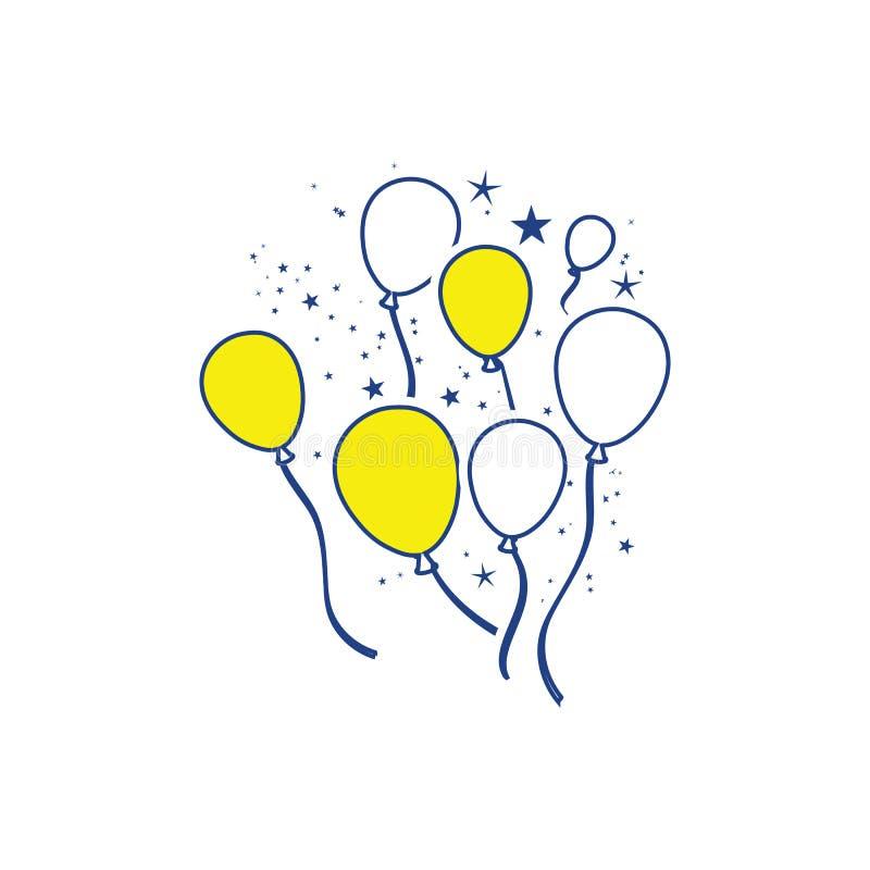 Icona dei palloni e delle stelle del partito illustrazione vettoriale