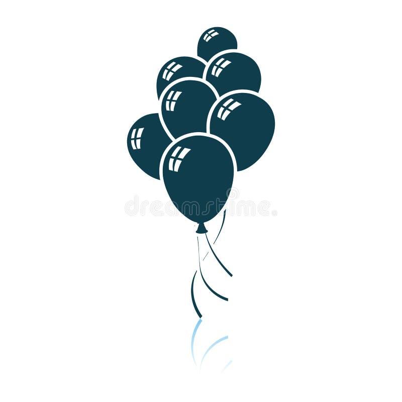 Icona dei palloni e delle stelle del partito illustrazione di stock