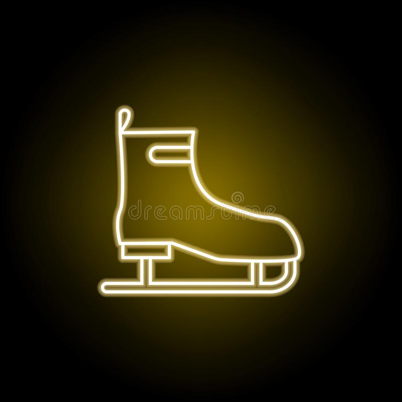 icona dei pattini da ghiaccio nello stile al neon Elemento dell'illustrazione di viaggio I segni ed i simboli possono essere usat illustrazione vettoriale
