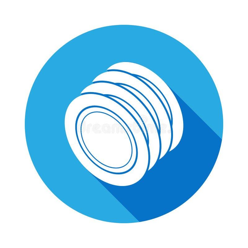 icona dei piatti con ombra lunga Elemento dell'icona dell'articolo da cucina Progettazione grafica di qualità premio Segni, icona illustrazione vettoriale