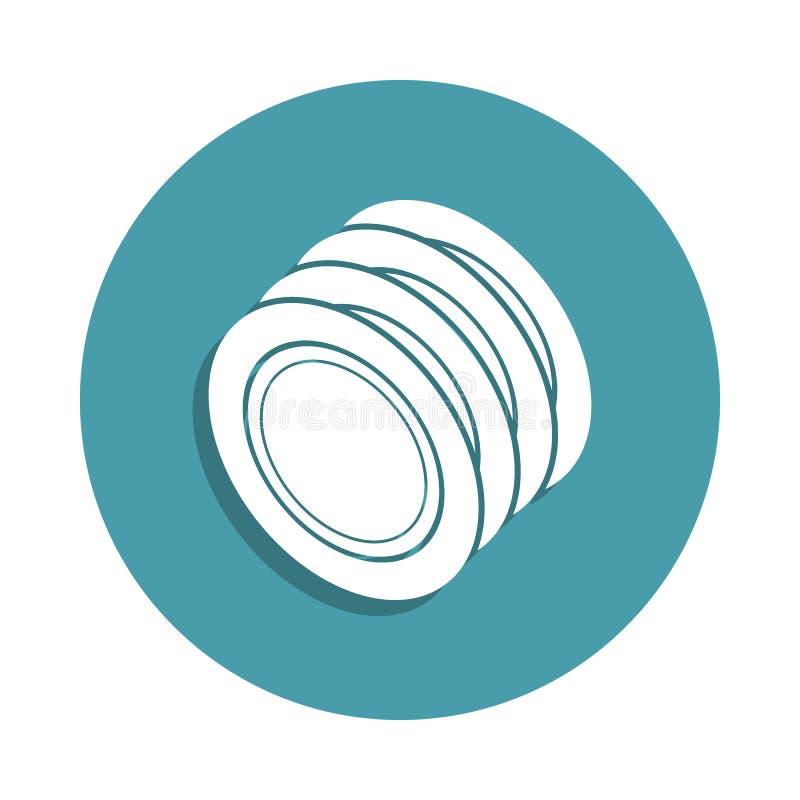 icona dei piatti nello stile del distintivo Uno dell'icona della raccolta dello strumento della cucina può essere usato per UI, U royalty illustrazione gratis