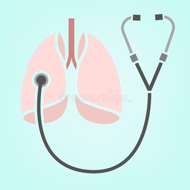 Icona dei polmoni dello stetoscopio illustrazione di stock